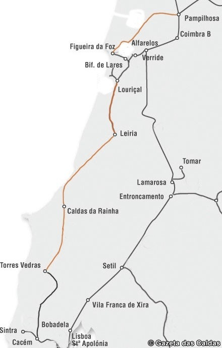 linha do oeste mapa mapa   Gazeta Das Caldas linha do oeste mapa